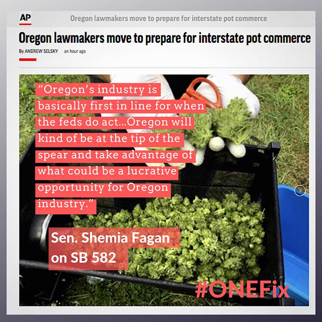"""ourcraftfuture @senatorshemia voted this week to move Oregon's #cannabis #export bill #SB582 to the Senate floor with a """"Do Pass"""" recommendation. Thank you Senator Fagan for supporting Oregon's locally owned craft cannabis farms and businesses! AP story at bit.ly/GetLIT02 🌧️🌞🌿 #orleg #onefix #licensedinterstatetransfer #craftcannabis #GetLIT #oregonfarmers."""