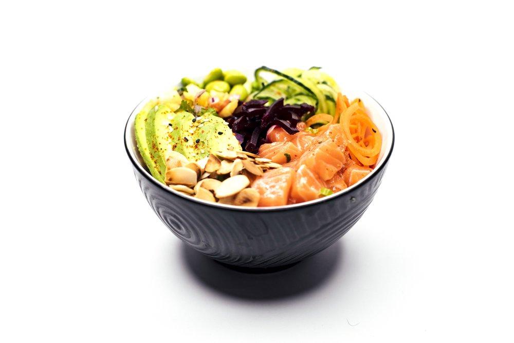 JIRO SALMON BOWL - Salmon Sashimi, Rice, Cucumber, Carrot, Edamame Beans, Pickled Beetroot, Avocado, Roasted Almond Flakes, Pineapple Salsa, Creamy Wasabi Sauce or Ponzu Power Sauce