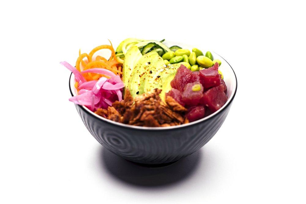 TUNA CRUNCH BOWL - Tuna Sashimi, Rice, Edamame Beans, Avocado, Cucumber, Carrot, Crispy Potato Flakes, Pickled Red Onion, Creamy Wasabi Sauce