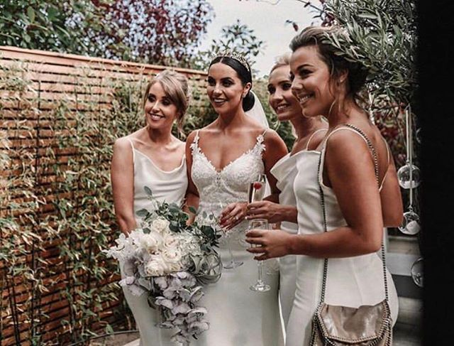 Forever bridesmaid goals ✨  Would you let your gals wear white? @elle_knowles bridal party looked unreal in these white fishtail gowns by @lipsylondon ✨ She had them tailored to each bridesmaid for the perfect fit.  @willowandwilde_uk capturing these stunners perfectly. • #weddinghair #cheshirebridalhair #wedding #engaged #manchesterbride #liverpoolbride #cheshirebride #cheshireweddingstylist #cheahireweddings #rockmywedding #bridalvogue #modernbride #modernwedding #destinationwedding #bridalfasion #luxurybridal #bohobride #hairclips #bridesupnorth #weddinginspo