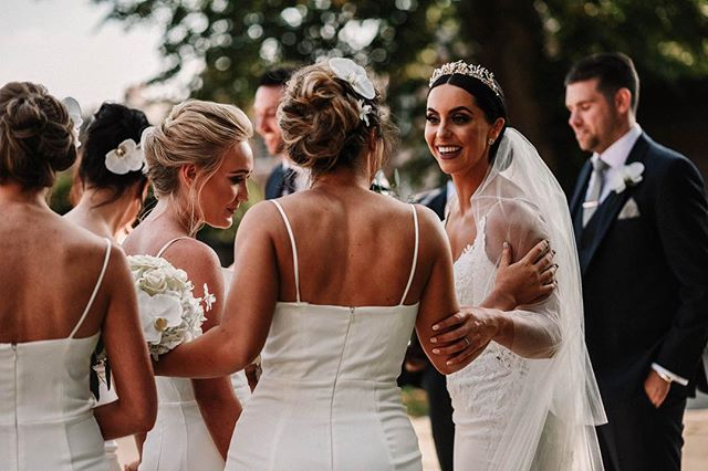 When you gotta regroup with your best gals post ceremony ✨  If you plan on taking your veil out after the ceremony always choose one of your bridesmaids (the most delicately handed one ☝🏼) to remove your veil for you. I'll always talk it through with her in the morning and show her how to remove it properly without disrupting your updo ✨ What else are bridesmaids for?! • Photography / @willowandwilde_uk  Venue / @thecolonyevents  Hair & accessories / @charlottemedfordbridal  Bridesmaid dresses / @lipsylondon  MUA / @leena_makeup  Flowers / @josephmassieflowers • #weddinghair #cheshirebridalhair #wedding #engaged #manchesterbride #liverpoolbride #cheshirebride #cheshireweddingstylist #cheahireweddings #rockmywedding #bridalvogue #modernbride #modernwedding #destinationwedding #bridalfasion #luxurybridal #bohobride #hairclips #bridesupnorth #weddinginspo
