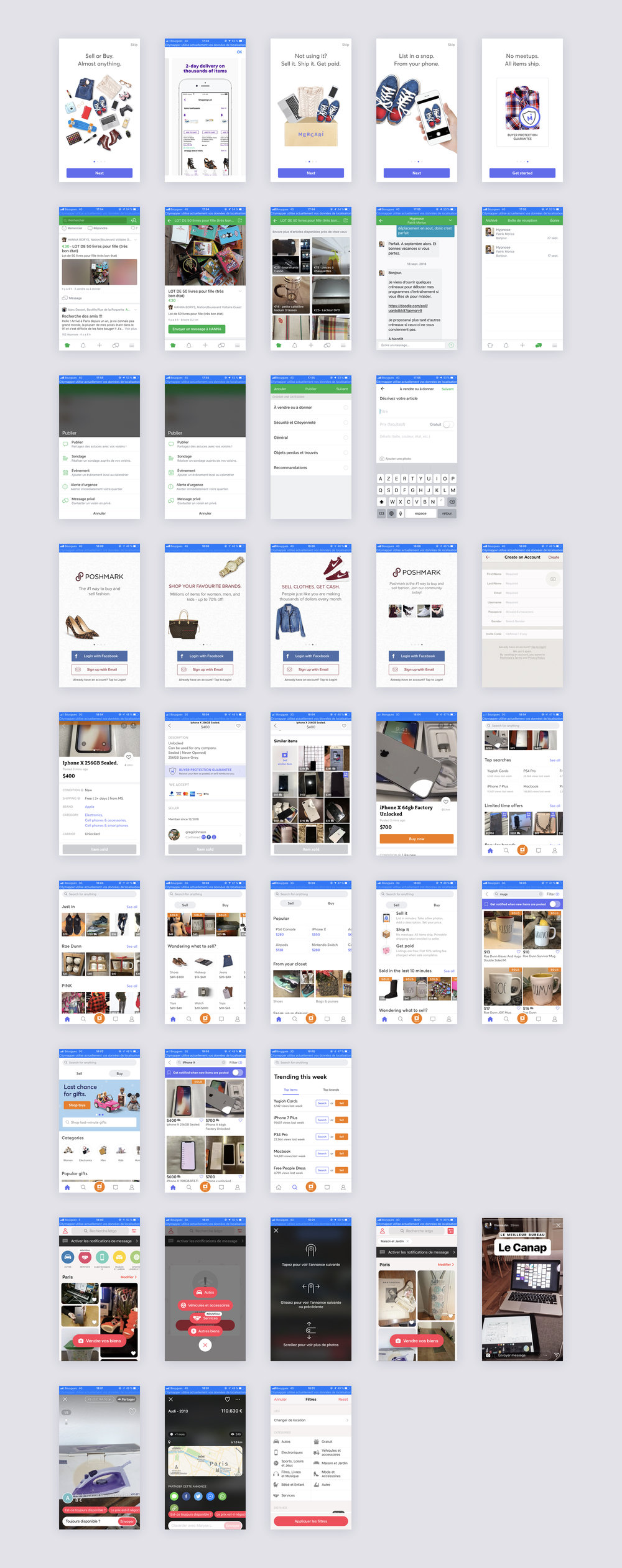 Selected apps: Nextdoor, letgo, Marcari, GDC, OfferUp, Facebook Marketplace, Poshmark, The Realreal, Leboncoin, Instagram…