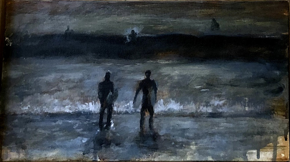 Acrylic painting of surfers at Santa Monica beach which I made as a souvenir of my trip.  November, 2018  +(4>2)  Acrilic piñdreyet lajdyorëtër Santa Monica plaaj, jdya yë struinuiy ibdil biñ souvenibdir jda amayal jda jmeetr.  Nommxa, 2018