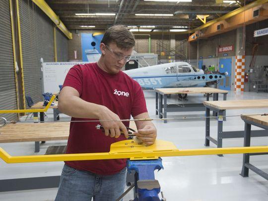 Jesse Martin learning about aviation maintenance technology