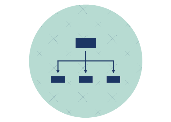 Icon showing flow chart