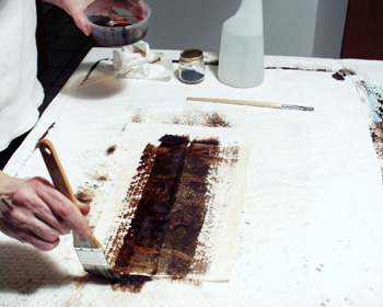 Here the walnut ink was painted on the damp Caba bark paper.