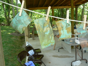 We did test strips for the various patina solutions that we used and hung them to dry.