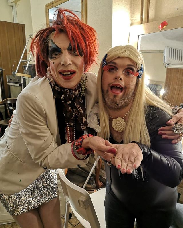 The Godmother and the queen. #dragsyndrome #drag #davidhoyle #downsyndrome #queen #performance