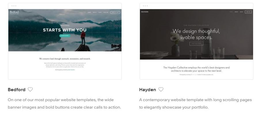 Examples of some of the templates on  www.squarespace.com
