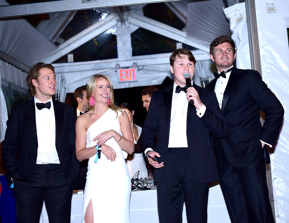 Will Hayden, Lily Baker, Hayden Arnot and Bobby Arnot speaking at the May 2018 Gala