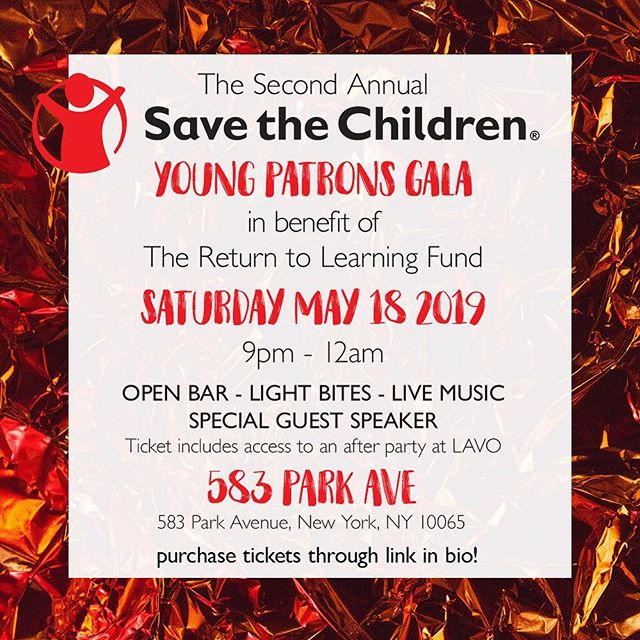 Early bird tickets are on sale NOW through April 18th for the annual Save the Children Young Patron's Gala! All proceeds will benefit the Return to Learning Fund. LINK IN BIO TO PURCHASE ✨ see you there! #SaveTheChildren #ReturnToLearningFund #SaveTheChildrenYP #SaveTheChildrenYPGala