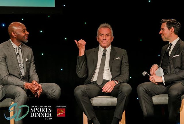 What great stories we heard from two sports pals at #jccsportsdinner ! Thank you to our Playoffs Sponsors @Altus_Group @AvisonYoung @ShawSabey @BalfourPacific @Bennetjoneslaw @cbreCanada @collierscanada and @protectear for helping make this epic fireside chat a reality!
