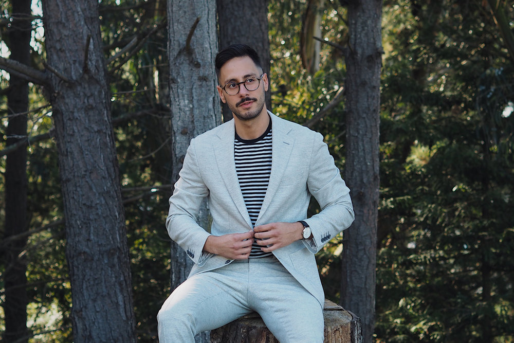 I'm Wearing a suit from Suitsupply, T-shirt from Five Four Club, Cole Haan Cole Haan oxford shoes, Persol glasses, and Daniel Wellington watch