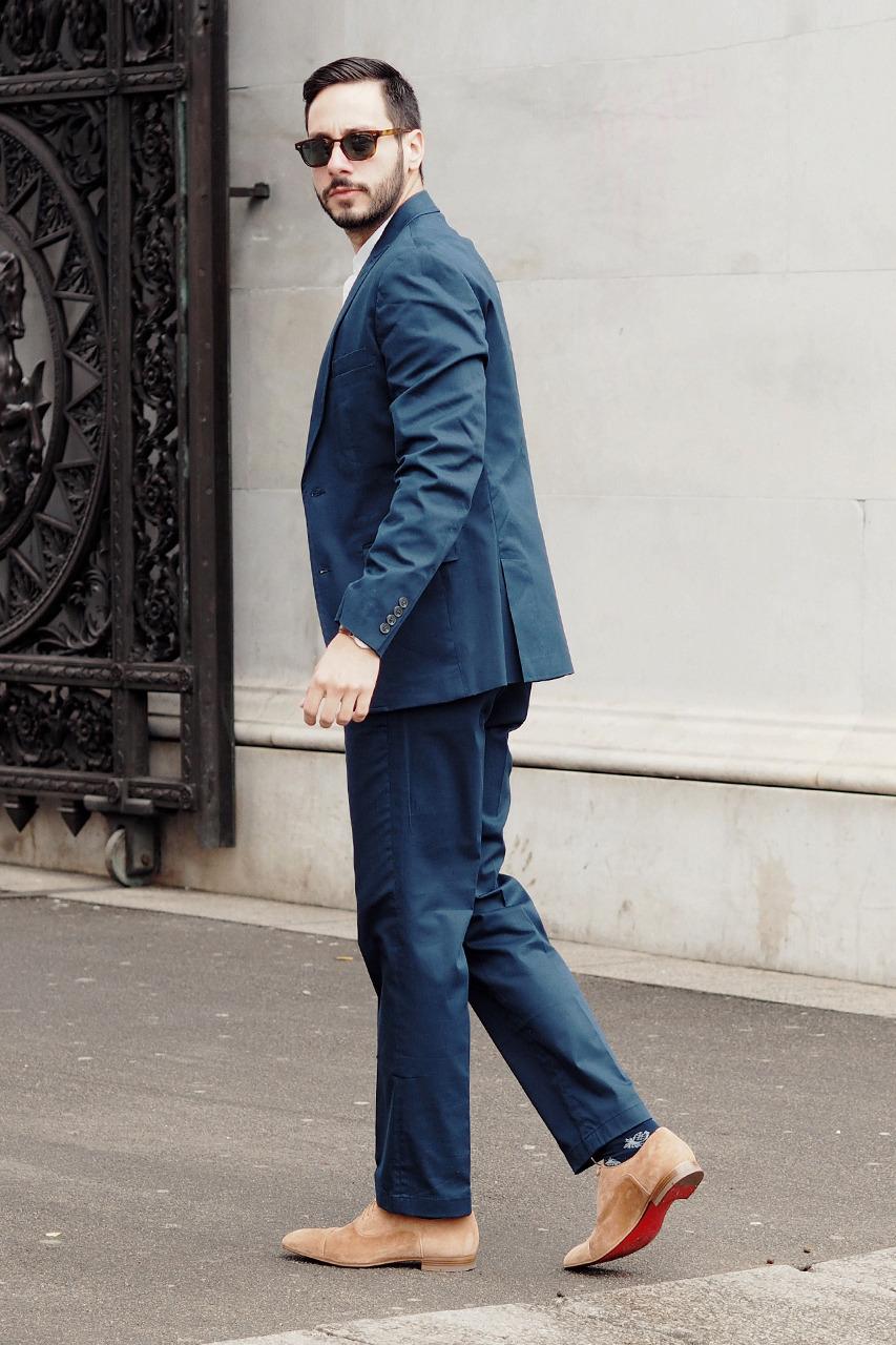 What I'm Wearing: INC International Concepts blazer, vest, and trousers, Christian Louboutin shoes, Steven Alan sunglasses, Daniel Wellington watch