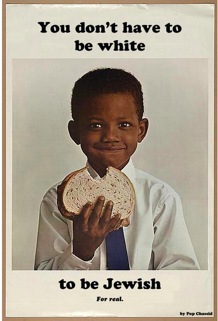 """You don't have to be white to be Jewish. For real."" A photo by Pop Chassid. (A photo of a young black boy smiling while eating a sandwich.)"