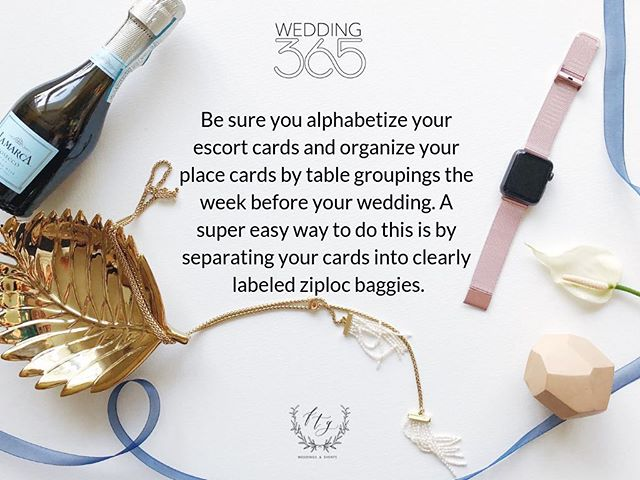 #FTGWedding365 Planning Tip | If you're planning to have escort cards available for your guests, keep in mind that it can be very time consuming to sort through it all on the day of your wedding!  By organizing your escort cards either alphabetically, or by table number, and separating them in sealed and labeled containers, it can really make a big difference on setup time!