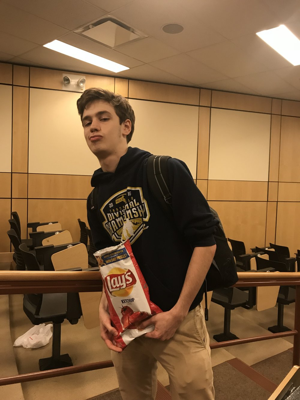 Meet Elijah Fullerton, freshman. - We needed the perfect candidate to kick off our very first Humans of the IAA post, and when we spotted Elijah across the meeting room chomping happily on his bag of chips, we just knew we needed to stop him and get his thoughts.