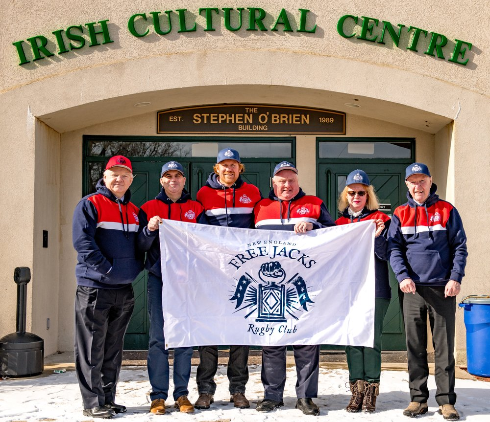 Photo by Ed Moran.  From left to right: John Foley (Counsel, ICC), Greg Jackson (Executive Director, ICC), Alex Magleby (CEO, New England Free Jacks), Philip O'Dwyer (President, Boston Irish Wolfhounds), Anne Geraghty (Vice President, ICC), Seamus Mulligan (President, ICC)