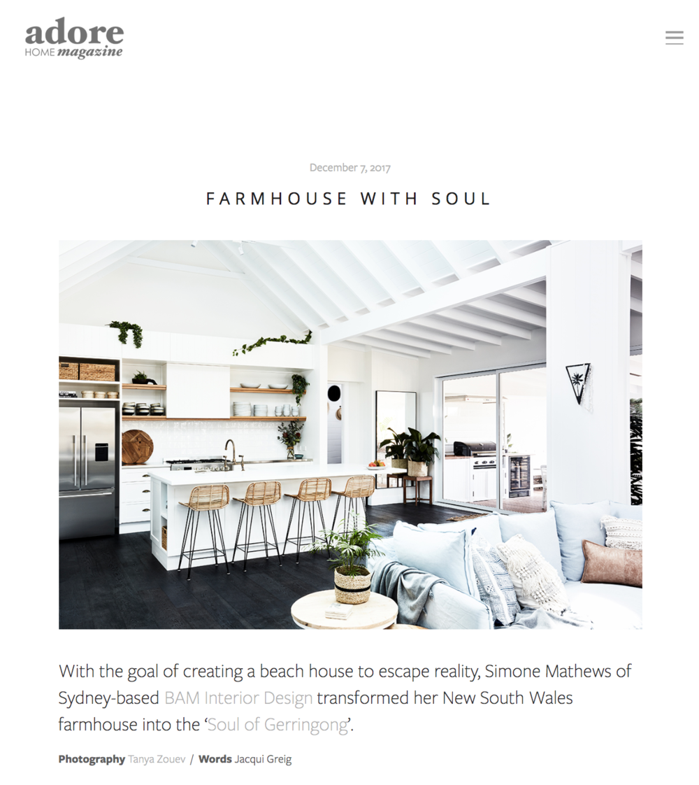 "ADORE MAGAZINE - ""This relaxed aesthetic was complemented by Simone's preference for bright and open spaces""Click here to read the full article"