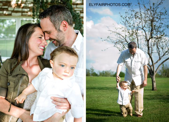 Two beautiful photographs showing a family portrait and a father and son specialty with Quail Creek Golf course in the background.