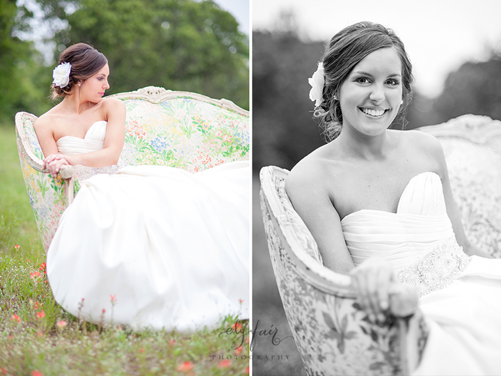 Bride on couch in field