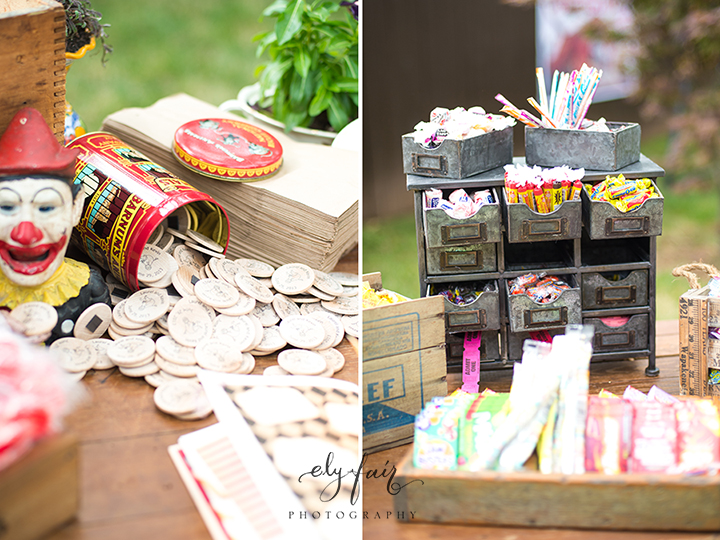 circus themed wedding, token magnets give aways