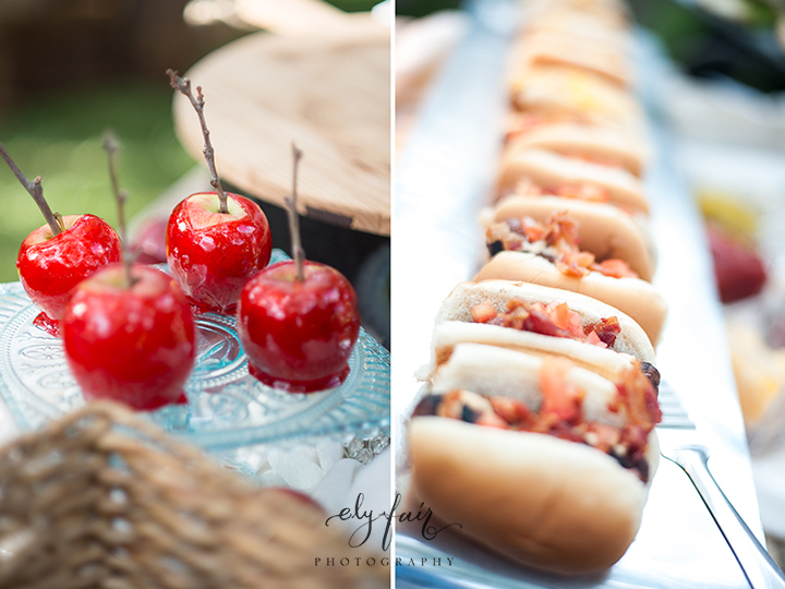 circus themed wedding, candied apples & mini hotdogs