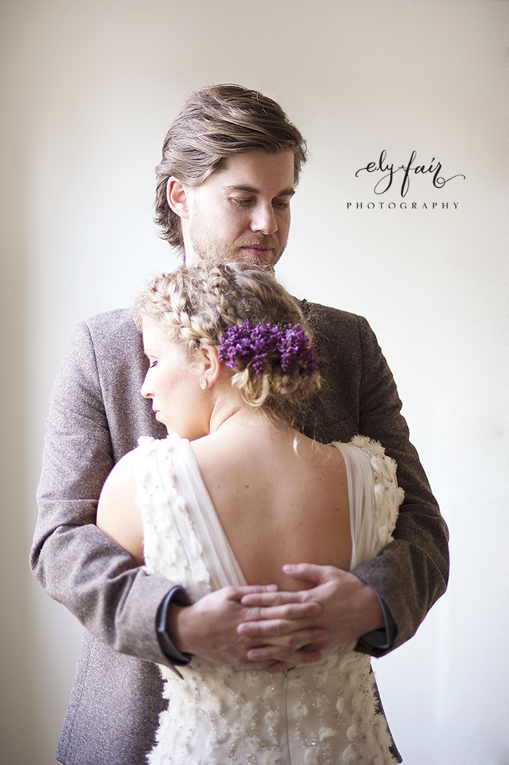 Bride with Lavender in Hair | Ely Fair Photography