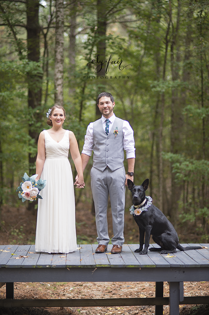 Broken Bow, Oklahoma Wedding, felt flower bouquet, Wedding Dog