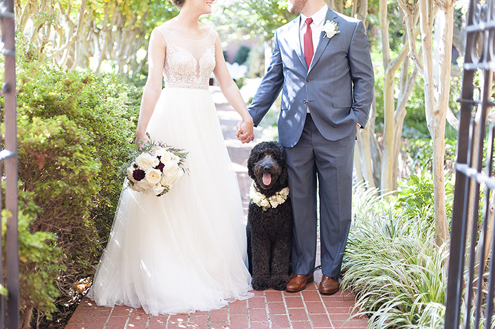 Ely Fair Photography | Dog with Floral Collar | Oklahoma Wedding | Watters Wedding Dress