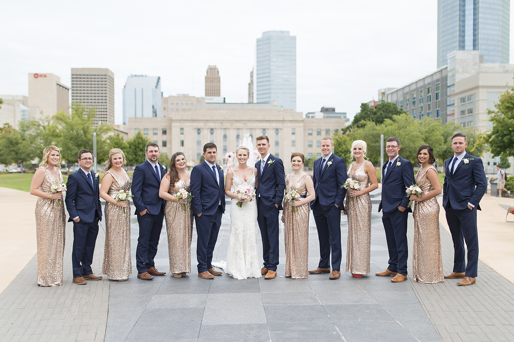 Ely Fair Photography | Oklahoma Wedding | Civic Center Wedding | Gold Bridesmaid Dresses