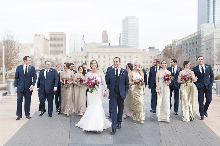 Civic Center Oklahoma Wedding | Ely Fair Photography | Gold Bridesmaid Dresses