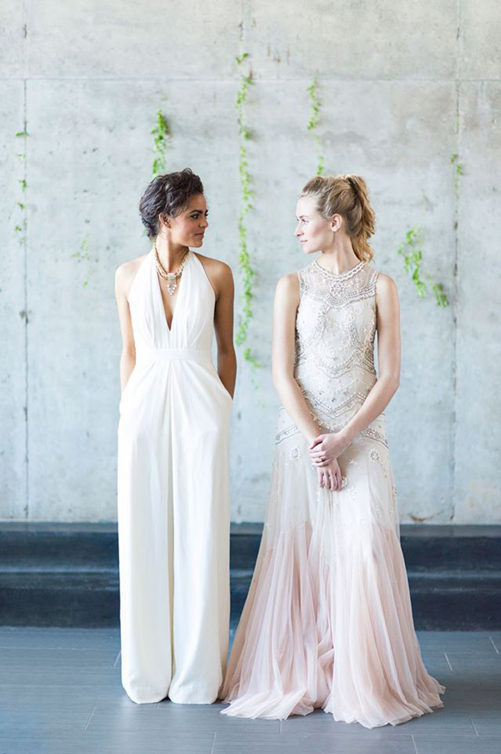 Ely Fair Photography | Emmerson Events | Same Sex Marraige Inspiration | BHLDN Blush Dress & Jumpsuit