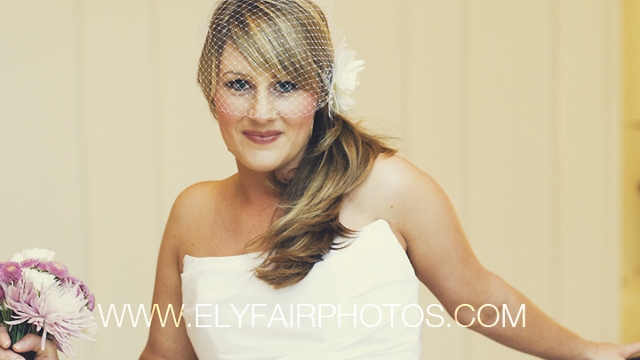 bride in birdcage veil