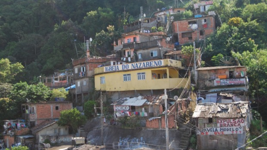 The Church of the Nazarene in Morro da Babilônia. It is one of a many favelas in Rio de Janeiro. This community is close to Copacabana.