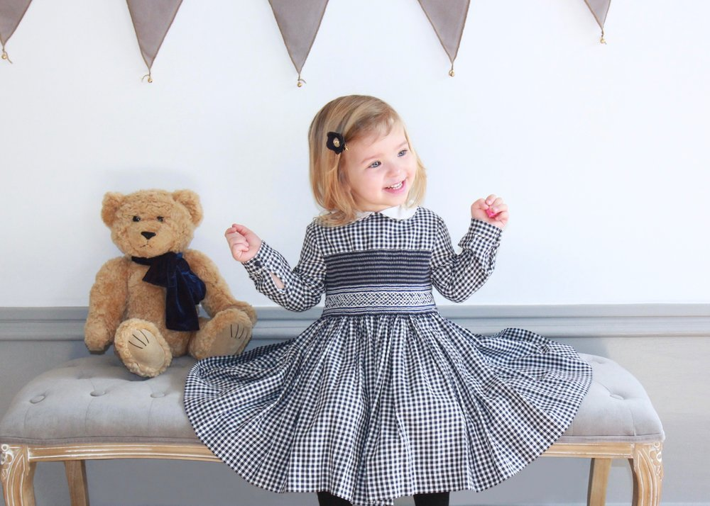 Handmade navy checked Cerise smocked dress