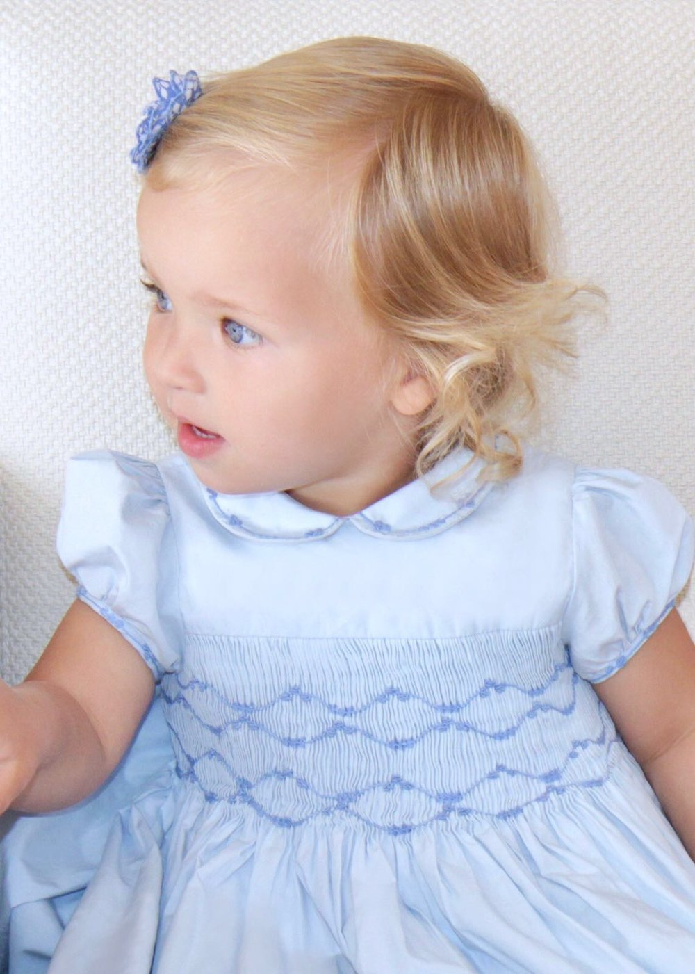 Handmade sky blue Cerise smocked dress