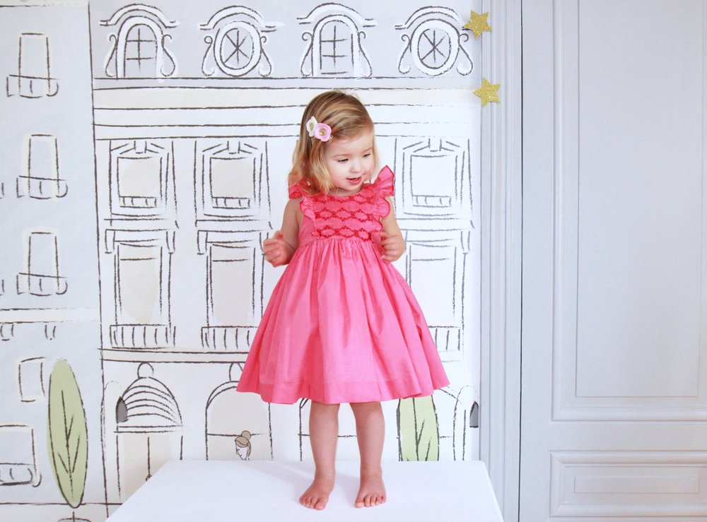 Handmade pink Netti smocked dress