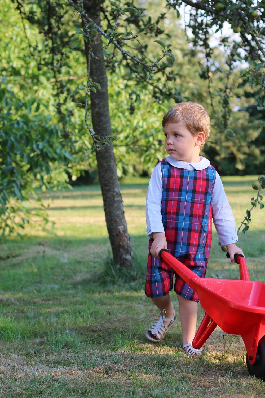 Baby boy tartan dungaree