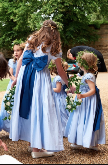 Special order of handmade smocked dresses for the wedding of Laline Hay