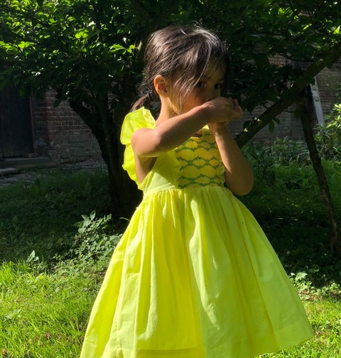 Olivia on holidays in the countryside wearing a handmade Daffodil Netti dress
