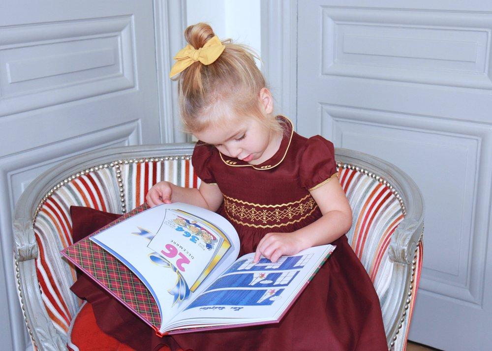 Handmade smocked dress - Cerise Bordeaux - Les Triplés