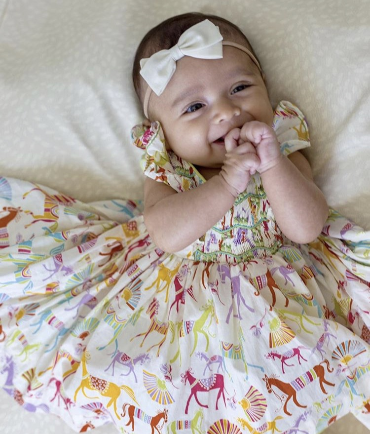 Arden wearing her handmade Liberty Netti dress! What a beautiful smile