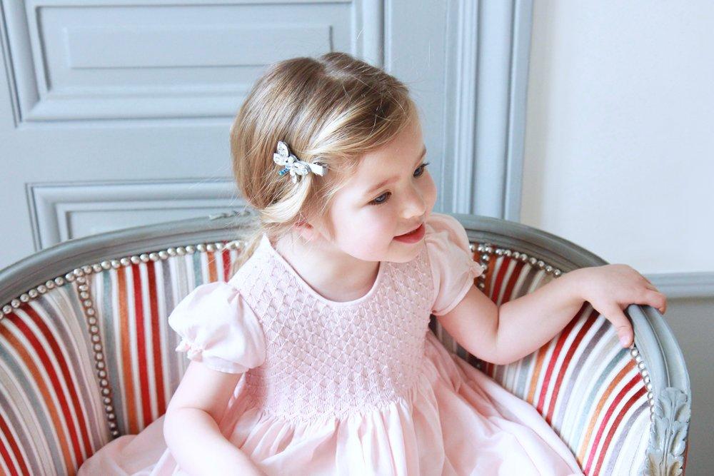 Handmade pink smocked dress - children's boutique Paris