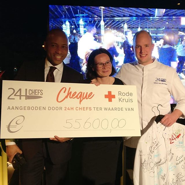 Wauw!! Proud that we collected € 55.600,- for the @rodekruis with all our collegues at @24hchefs