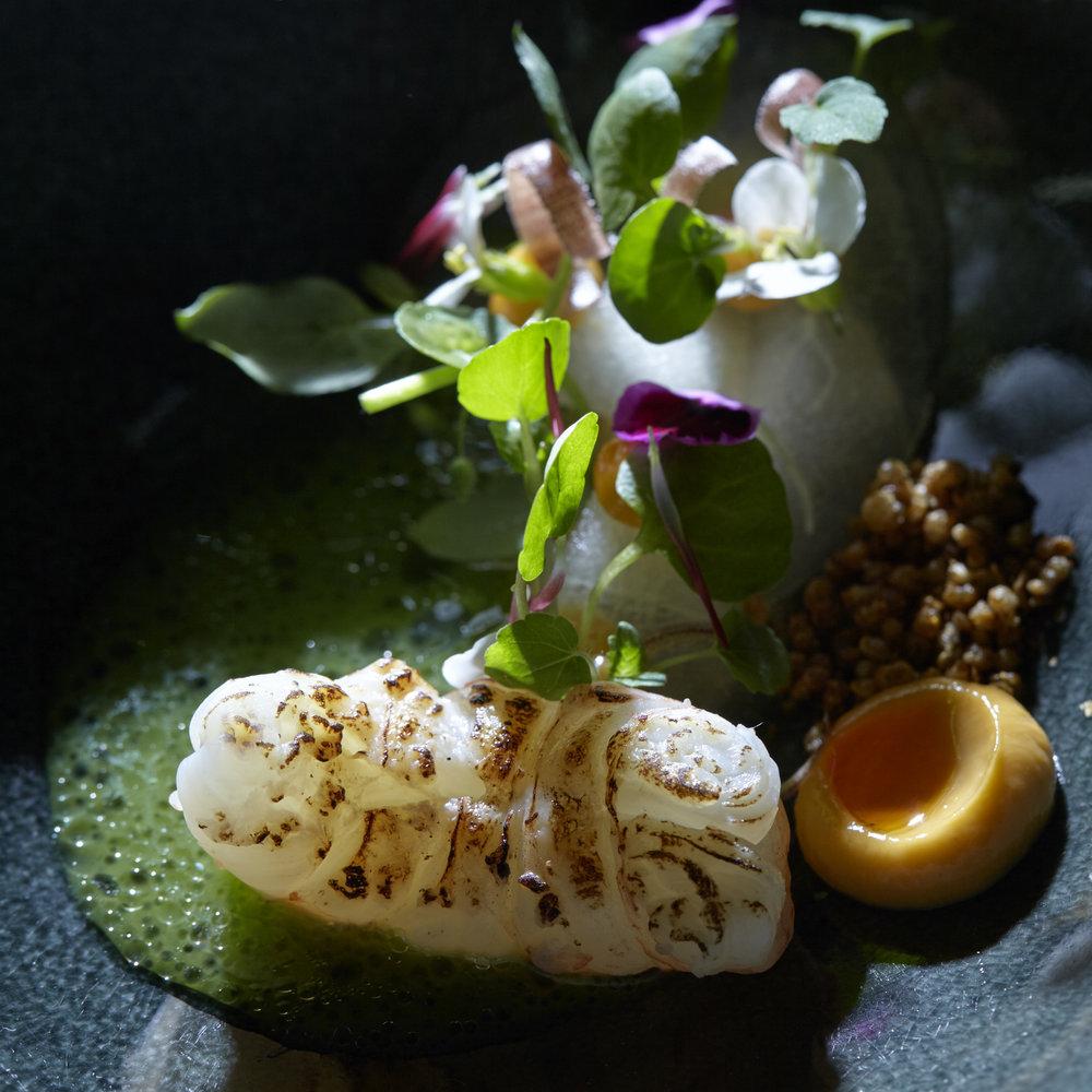 Maik Kuijpers | Langoustine gegaard in vanille kombucha met boemboe, nasi peer, sap van snijboon en laos