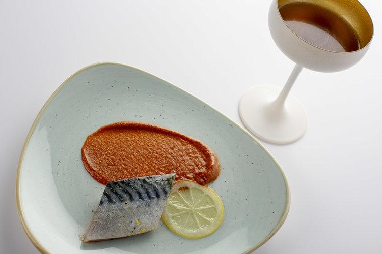 Chris Naylor | Marinated Mackerel with paprika puree and olive bouillon