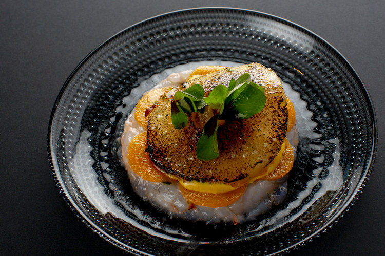 Chris Naylor | Salad of pear and pumpkin with langoustine tartare