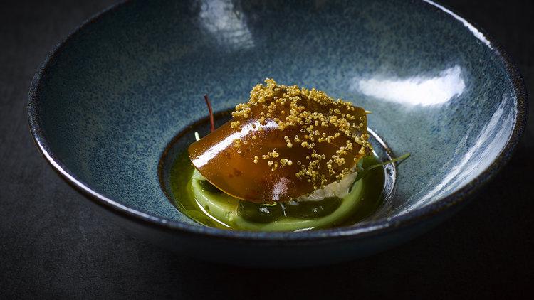 Andre Gerrits | Noordzee krab - Salade van Noordzee krab op een panna cotta van avocado, salsa verde en gelei van schaaldieren