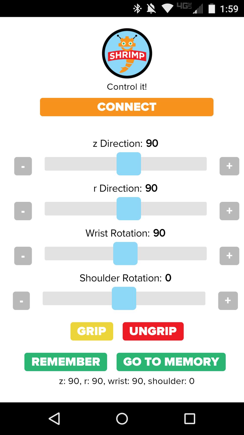 Screenshot of controller app